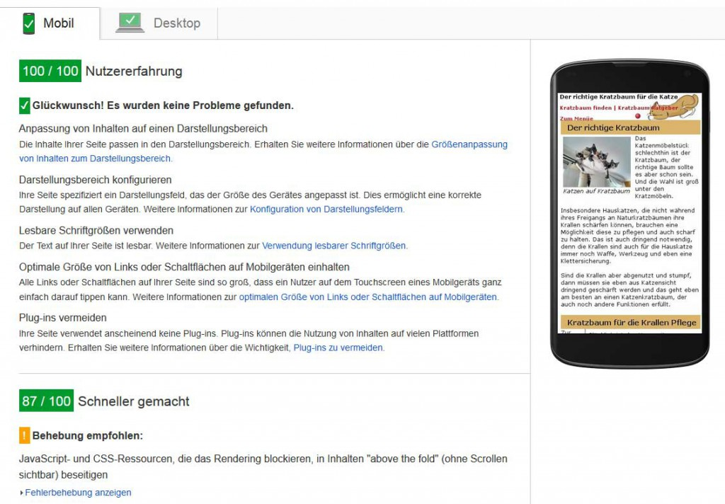 Pagespeed mobil nachher